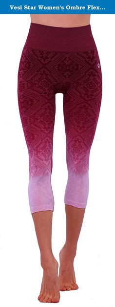 Vesi Star Women's Ombre Flexible Exercise Capri Pants (Medium, Burgundy Aztec). Lightweight exercise pants for women's. It is flexible to wear and multi-color. For workout sport and Yoga, it is a must have product. It provides top quality performance and provides ease in movement.