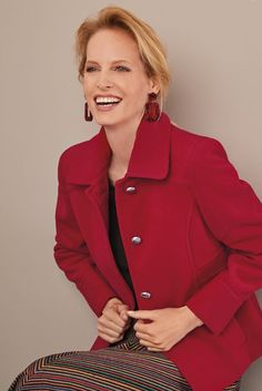 A chic & boxy, smart and useful jacket. ∙ Top stitched front & back princess seams · Welted vertical front pockets · Feature side panel · Shaped front & back yoke · Lined ∙ Polyester Viscose E Princess Seam, Blazer, Chic, Winter, Red, Jackets, Tops, Fashion, Shabby Chic