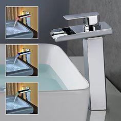 Homelody Hohe RGB LED 3 Farbewechsel Wasserfall Wasserhahn Chrom Armatur  Waschbecken Mischbatterie Waschbeckenarmatur Badarmatur Einhebelmischer ...