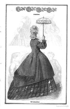 1864 Peterson's Magazine - parasol civil war era fashion