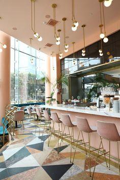 Bar at Cafeteria Restaurant in Tel Aviv. Bar im Cafeteria Restaurant in Tel Aviv. Restaurant Interior Design, Home Interior, Luxury Interior, Interior Decorating, Interior Ideas, Retail Interior, Kitchen Interior, Resturant Interior, Country Interior