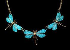 Art Nouveau Period Style Enamel Blue Dragonfly Necklace in Antique Bronze