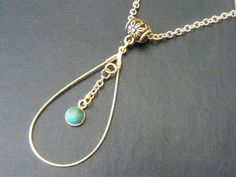 Turquoise Pendant Turquoise Cabochon Gold Tear Drop by DaKsJewelry