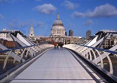 London. The Millenniumbridge between the Tate modern and St. Paul's cathedral.