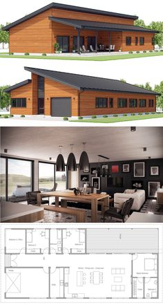 House Plans need the mstr suite bigger, cutting the lr area. Bdrm by front door would be office space/study Barn House Plans, New House Plans, Dream House Plans, Modern House Plans, Small House Plans, House Floor Plans, Contemporary Home Plans, Four Bedroom House Plans, Garage House Plans
