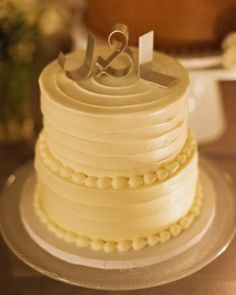Wedding cake topped with metal initials