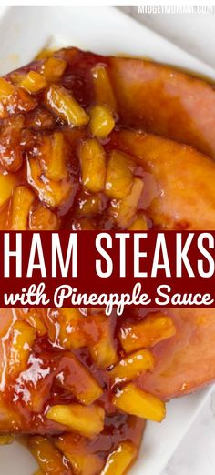 Ham steaks with pineapple sauce. This Ham Steaks Recipe is easy to make and has the most amazing pineapple sauce ever! Serve with veggies and you have a tasty low carb dinner! with ham steak Ham Steaks with Pineapple Sauce Pineapple Glaze For Ham, Pineapple Sauce, Pineapple Recipes, Ham Steak Recipes, Healthy Steak Recipes, Healthy Food, Easy Ham Recipes, Amish Recipes, Dutch Recipes