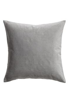 Gray. Cushion cover in cotton velvet with a concealed zip.