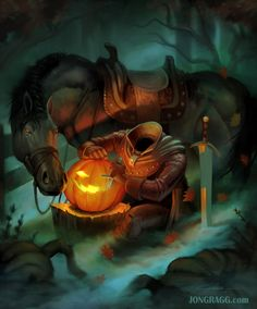 Halloween Art by JonGragg @ deviantart 🎃 Halloween Artwork, Halloween Silhouettes, Halloween Pictures, Spooky Scary, Spooky Halloween, Creepy, Scary Scarecrow, Halloween Treats, Steampunk Halloween