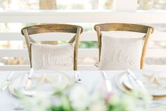 Mr and Mrs pillows for sweet heart table decor