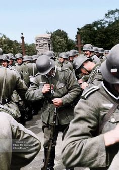 France, 1940, near the Champs Élysées, a group of German soldier has been awarded of the Iron Cross 2nd class.