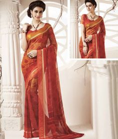Buy Orange Georgette Printed Saree With Blouse 75130 with blouse online at…