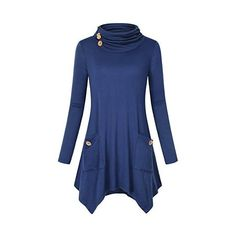 Hibelle Women's Turtleneck Long Sleeve Asymmetric Hem Tunic Tops with... ($27) ❤ liked on Polyvore featuring tops, tunics, blue turtleneck, long sleeve turtleneck, long sleeve tunic, asymmetrical hem top and pocket tunic