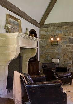 nice fireplace design, love the leather club chairs & the stone wall with the sconce ~ from Anne Decker Architects English Decor, English Interior, Fireplaces, Fireplace Mantles, Fireplace Surrounds, Fireplace Ideas, Mantels, Family Room Addition, Lexington Home