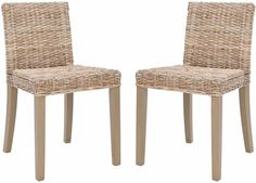 Safavieh Rural Woven Dining St. Croix Chic Wicker Grey Side Chairs Set Of 2 #Safavieh
