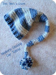 Crochet Newborn Stocking Cap Tutorial (Crochet) - Free Pattern - making this Nov. Love, Stocking Cap Tutorial (Crochet) - Free Pattern - making this Nov. Newborn Stocking Cap Tutorial (Crochet) - Free Pattern - making th. Crochet Cap, Cute Crochet, Crochet Crafts, Crochet Stitches, Crochet Projects, Crochet Baby Clothes, Crochet Baby Hats, Baby Knitting, Booties Crochet