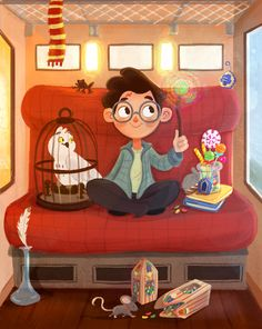 Harry Potter with Hedwig on The Hogwarts Express. Harry Potter Fan Art, Images Harry Potter, Mundo Harry Potter, Cute Harry Potter, Harry Potter Drawings, Harry Potter Hermione, Harry Potter Characters, Harry Potter Books, Harry Potter Universal