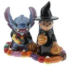Stitch as vampire and Lilo as witch Halloween salt & pepper shakers