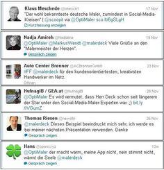"""Das hier sind die """"Twitter-Komplimente"""" der letzten Tage für malerdeck. Vielen herzlichen Dank, für diese tolle Wertschätzung."""