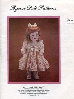 Byron Doll Pattern 1980's By-111 Lucy 19.5 New Old Store Stock Sewing Pattern by LanetzLivingPatterns on Etsy