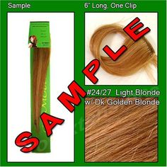 "#24/27 Light Blonde with Dark Golden Blonde Highlights, 6 Inch Sample of Clip on in Human Hair Extensions Set by Pro Extensions. $1.99. #24/27 Light Blonde w/ Golden Blonde Highlights Sample. This clip in hair extension set is Colored #24/27 Light Blonde w/ Dark Golden Blonde Highlights.  The swatch is 6"" long and includes a single clip. The swatch color will match the color of the actual set and will allow you to match your color.  This item does not ship ove..."