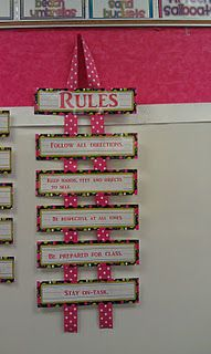 cute way to display class rules! this site has many helpful things to do for organizing classroom library