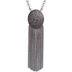 And to compliment our Ball & Tassel earrings, we have the Large Oval Tassel Necklace in #oxidizedsterlingsilver with #pavediamonds  Breathtaking! #DiamondCollection #JoinTheJHMovement #LoveGivingFreedom