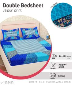 Bedsheets Comfy Pure Cotton Double Bedsheet Fabric: Bedsheet - Cotton   Pillow Covers - Cotton  Dimension: ( L X W ) - Bedsheet - 100 in  X 90 in Pillow Cover - 27 in x 17 in Description: It Has 1 Piece Of Double Bedsheet With 2 Pieces Of Pillow Covers Work: Printed Work Thread Count: 160 Country of Origin: India Sizes Available: Free Size   Catalog Rating: ★4 (402)  Catalog Name: Supreme Home Comfy Pure Cotton Double Bedsheets CatalogID_170538 C53-SC1101 Code: 883-1329613-069