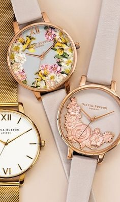 Olivia Burton Flower Show Leather Strap Watch Time Corks Wonders Watch. Fall deeper in love with every passing moment spent with this silvery watch by ShoppingMantraz.com.