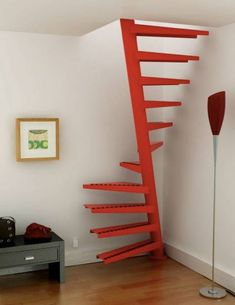 50 Brilliant Stair Design Ideas For Small Space. If your room size is restricted then the answer to your problem lies in stairs for small spaces; Spiral Staircase Plan, Loft Staircase, Staircase Design, Stair Design, Small Space Stairs, Small Spaces, Deco Cool, Tiny House Stairs, Stair Makeover