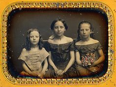 3 Off-The-Shoulder Beauties by 19th Century Photographic Images Via Flickr:  Photo by:  Anonymous, USA  Date:  April 1855  Type:  1/4 Plate Daguerreotype  Info:  3 Sisters — Bella, Emma, and Jenny