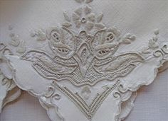 3 Heavily Hand Embroidered Linen Napkins Ivory Ecru from mercymaude on Ruby Lane