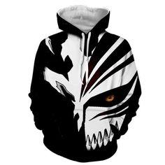 Ichigo Hollow Mask, Bleach Hoodie, Anime Costumes, Bleach Anime, Unisex Fashion, Men Fashion, Mens Sweatshirts, Black And White, Anime Hoodies