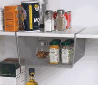 Silver Mesh Under Shelf Storage Basket - Small cabinet-and-drawer-organizers