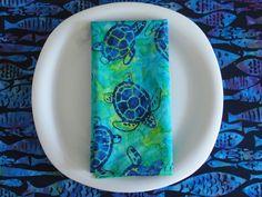 Batik Sea Turtle Cloth Napkins 4 in Navy by ItsHandmadebyArianne