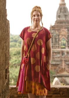 "Zenith"" dress in cotton The pattern on this ikat-woven dress in comfortable cotton suggests an image of the air quivering from the heat and the sun at the hottest time of day. Easy-to-wear style with side pockets, hand-embroidered edges and small cap sleeves, which makes it perfect to wear something underneath. Generous fit. Length: M 39¼"""