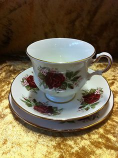 Beautiful Queen Anne fine bone china trio red roses design 8639 (two sets available)$15