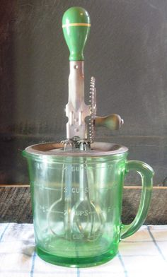 vintage egg beater and green depression glass measuring jug for sale at Etsy • CWA Australia recipes