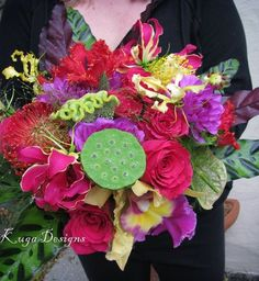 Kuga Designs: Wild Child Bride{ the beautiful Hot Pink Floral Bouquet}