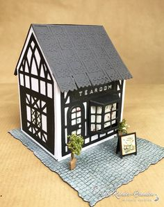 Today sees the launch of the amazing new Tudor Town die sets from Tonic Studios. I had so much fun making these buildings. Putz Houses, Village Houses, Gingerbread Houses, Tonic Cards, Shots Ideas, Paper Towns, Tudor House, Glitter Houses, Paper Houses