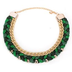 African Green Beads Decorated Weave Design Alloy Korean Necklaces  www.asujewelry.com