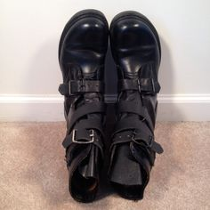 vintage 90s grunge black leather combat boots by vintspiration, $60.00