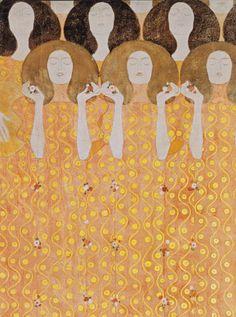 """Coro de ángeles en el paraíso, a favor de""""The Beethoven Frieze"""", en la concepción de Gustav Klimt."""