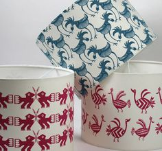 Bird Lampshade, Screen Printed Cyprus Bird