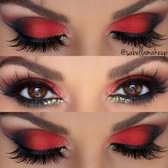 Sizzling black and red hues defined by sexy liner wings and dramatic lashes fashion these riveting smokey eyes. Glaze on gold glitters for a plush flair. See the how-tos and must-haves to DIY here.