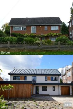 How to transform your home. This exterior facelift in Bromley has had a complete renovation inside and out. A contemporary style exterior has rejuvenated this family home. To find out more, please visit our website: www. House Cladding, Facade House, Home Exterior Makeover, Exterior Remodel, Modern Exterior, Exterior Design, Traditional Exterior, Exterior Paint, Reforma Exterior