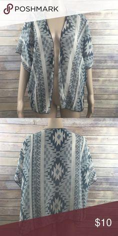 Tribal kimono top Open front semi-sheer tan/grey tribal print shawl Tops Blouses