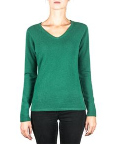 Damen Kaschmir Pullover V-Ausschnitt rainforest grün front Elegant, Sweatshirts, Tops, Sweaters, Fashion, Green, Cashmere Wool, Cashmere Sweaters, Women's