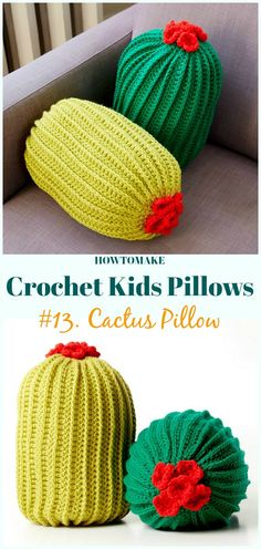 Crochet Cactus Pillow Free Pattern -Fun #Crochet Kids #Pillows Free Patterns