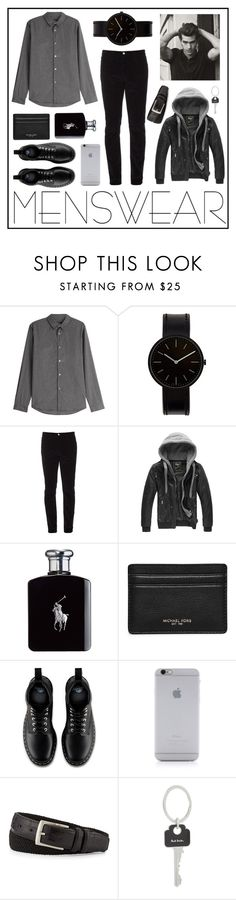 """B&W Menswear"" by sofievnt ❤ liked on Polyvore featuring A.P.C., Uniform Wares, Gucci, Ralph Lauren, Michael Kors, Dr. Martens, Native Union, Neiman Marcus, Paul Smith and mens"